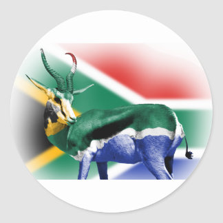 South African Springbock Flag Round Sticker