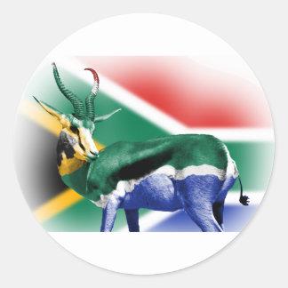 South African Springbock Flag Round Sticker