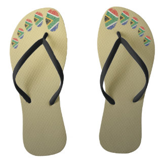 South African touch fingerprint flag Flip Flops