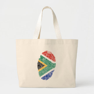 South African touch fingerprint flag Large Tote Bag