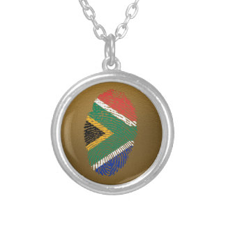 South African touch fingerprint flag Silver Plated Necklace