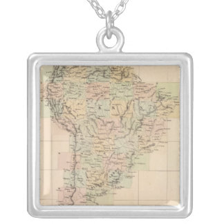 South America Assembly Map Silver Plated Necklace