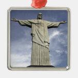 South America, Brazil, Rio de Janeiro. Christ Silver-Colored Square Decoration