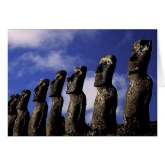 South America, Chile, Easter Island, Ahu Akiri. Greeting Card