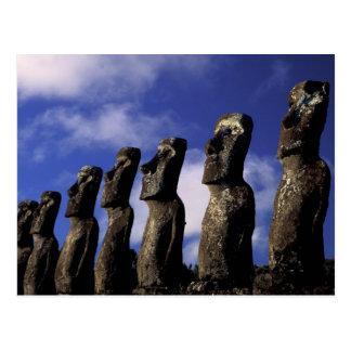 South America, Chile, Easter Island, Ahu Akiri. Postcard