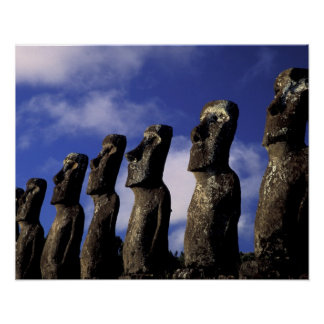 South America, Chile, Easter Island, Ahu Akiri. Poster