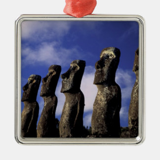 South America, Chile, Easter Island, Ahu Akiri. Silver-Colored Square Decoration