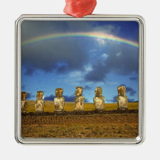 South America, Chile, Easter Island. The full Silver-Colored Square Decoration