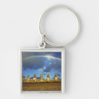 South America, Chile, Easter Island. The full Silver-Colored Square Key Ring