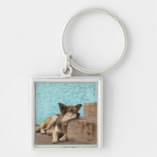 South America, Chile, Valparaiso. German Silver-Colored Square Key Ring