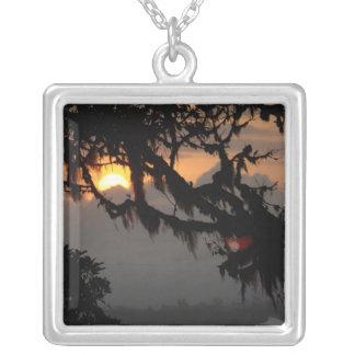 South America, Ecuador, cloud forest scene in Square Pendant Necklace