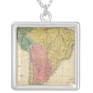 South America History Map Silver Plated Necklace