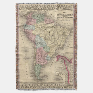 South America Map by Mitchell Throw Blanket