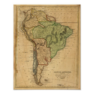 South America  Map by Worcester Poster