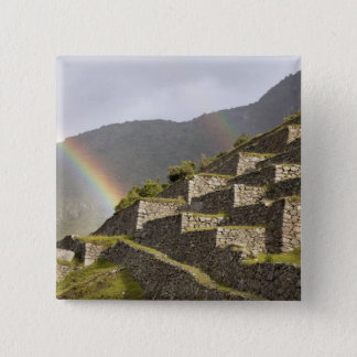 South America, Peru, Machu Picchu. Rainbows over 15 Cm Square Badge