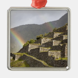 South America, Peru, Machu Picchu. Rainbows over Christmas Ornament