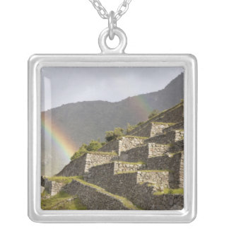 South America, Peru, Machu Picchu. Rainbows over Silver Plated Necklace