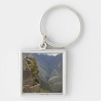 South America, Peru, Machu Picchu. Stone ruins Silver-Colored Square Key Ring