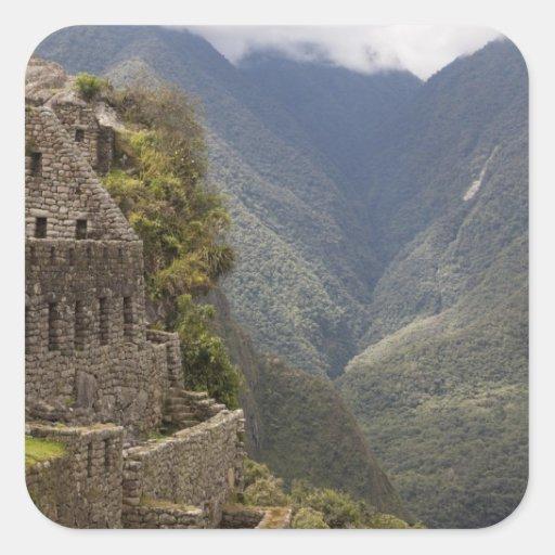 South America, Peru, Machu Picchu. Stone ruins Square Stickers
