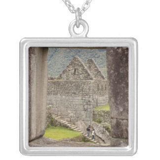 South America, Peru, Machu Picchu. Two tourists Silver Plated Necklace