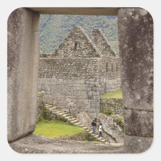 South America, Peru, Machu Picchu. Two tourists Square Sticker