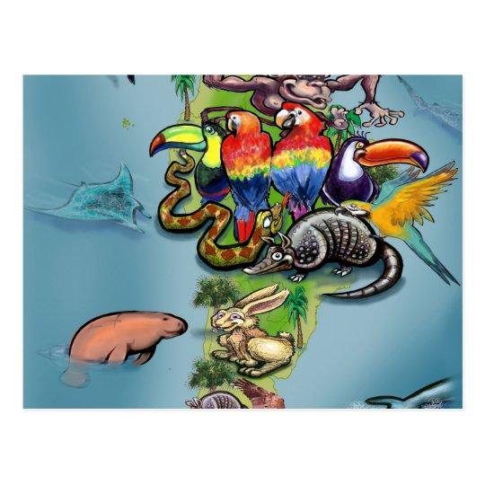 South American Animals World Map Postcard