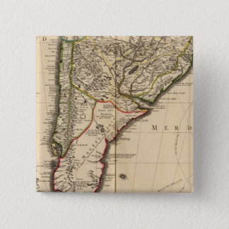 South American engraved map 15 Cm Square Badge