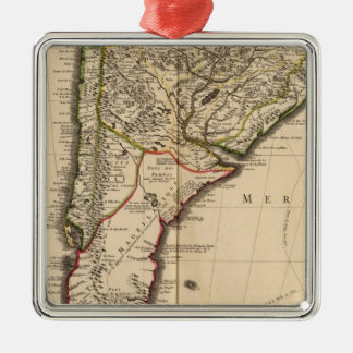 South American engraved map Silver-Colored Square Decoration