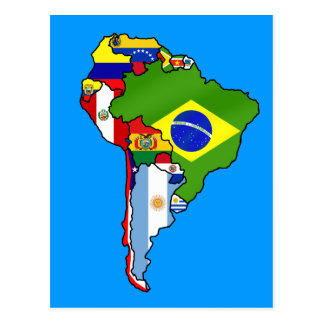 South American flags of South America flag Map Postcard