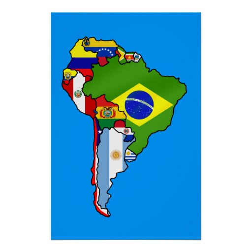 South American flags of South America flag Map Posters