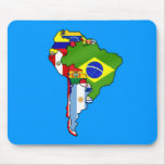 South American flags of South America Map Mouse Pad