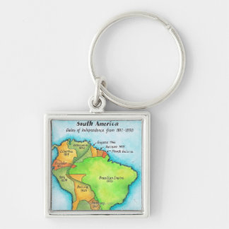 South American Independence Silver-Colored Square Key Ring