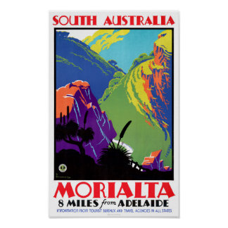 South Australia Morialta Vintage Travel Poster