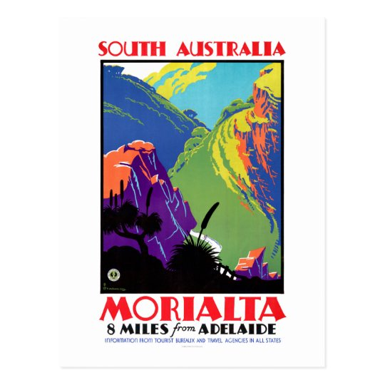 South Australia Morialta Vintage Travel Poster Postcard