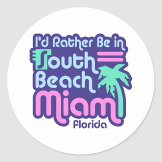 South Beach Miami Classic Round Sticker