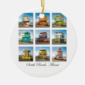 South Beach, Miami Life Guard Shacks Christmas Ornament