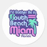 South Beach Miami Round Stickers