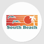 South Beach Round Stickers