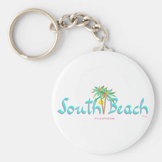 South Beach Sun Miami Basic Round Button Key Ring