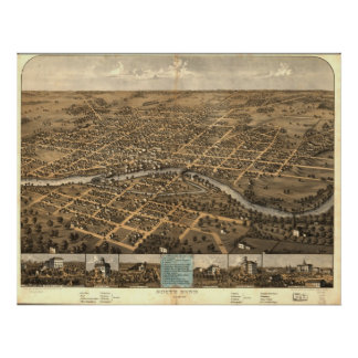 South Bend Indiana 1866 Antique Panoramic Map Poster