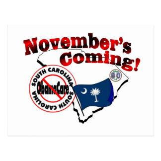 South Carolina Anti ObamaCare – November's Coming! Postcard