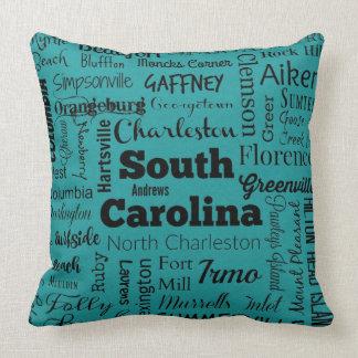 South Carolina cities throw pillow in teal/black