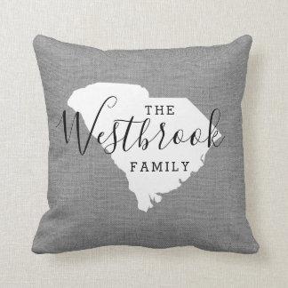 South Carolina Family Monogram State Throw Pillow