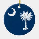 South Carolina Flag Round Ceramic Decoration