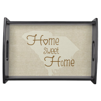 South Carolina Home Sweet Home burlap-look Serving Tray