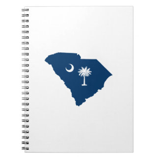 South Carolina in Blue and White Spiral Notebook