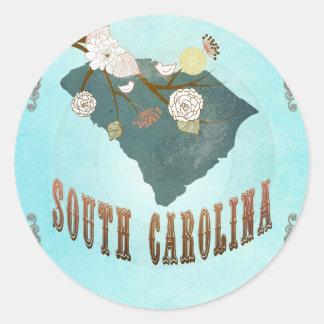 South Carolina Map With Lovely Birds Round Sticker