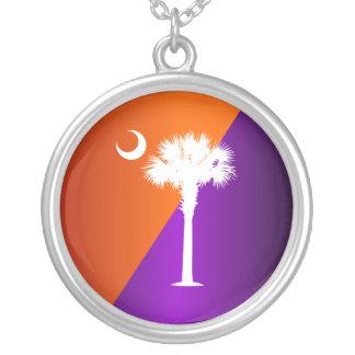 South Carolina Orange & Purple Round Pendant Necklace