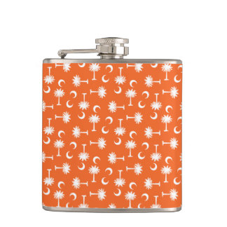 South Carolina Palmetto Moon Flag Orange Hip Flask