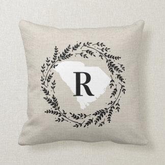South Carolina Rustic Wreath Monogram Throw Pillow